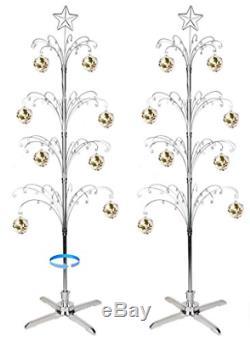 HOHIYA Metal Christmas Ornament Display Tree Rotating Stand Ball Bauble Dog Cat