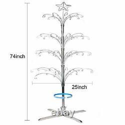 HOHIYA Ornament Display Stand Tree ChristmasRotating Metal Bauble Hook Hanger