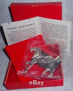 HTF 1989 Stieff Smithsonian Sterling Carousel Horse Christmas Ornament Pendant