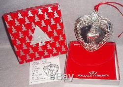 HTF 1999 Wallace 8th Annual Grande Baroque Sterling Silver Heart Xmas Ornament