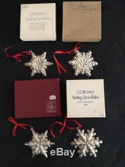 HUGE 36 Gorham Sterling Silver Snowflake Christmas Set 1970-2005 Ornament