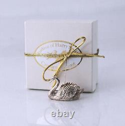 Harry Smith Swan in Holly Sterling Silver Christmas Ornament