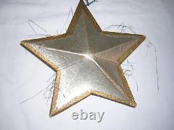 Huge Antique German Silver & Gold Dresden Star Christmas Ornament 7 Diameter