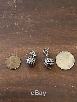James Avery Retired & Rare Spirit Of Christmas Ornament Earrings Sterling Silver