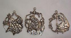 Jesus Birth Rare Set of 3 Christmas Tree Ornaments Vintage Gorham Silver Plate