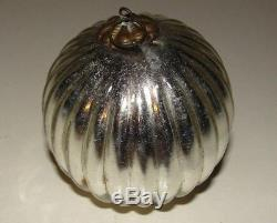 Kugel Silver Glass Ball Christmas Tree Ornament Germany Vintage