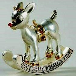 LENOX 2002 BABY'S FIRST 1st Christmas Ornament Gift RUDOLPH Silver NIB