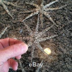 LOT (9) Vintage German Silver Metal Wire Tinsel STAR / SPUTNIK Xmas Ornament