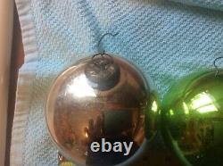 Large 4 Antique German Mercury Glass Kugel Christmas Ornaments