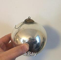 Large Antique 19th c. German Mercury Glass Kugel Christmas Ornament Silver