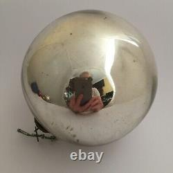 Large Antique 5 inch 126mm German Silver Kugel Christmas Ornament Heavy Glass