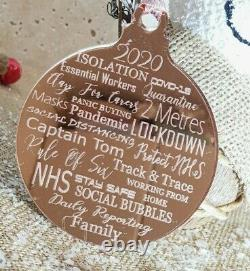 Laser Engraved 2020 Christmas Bauble Rose Gold Silver Tree Decoration Gift Xmas