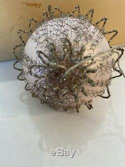 Lot 12 Vintage Antique Silver Wire Tinsel Covered Glass Christmas Ornaments