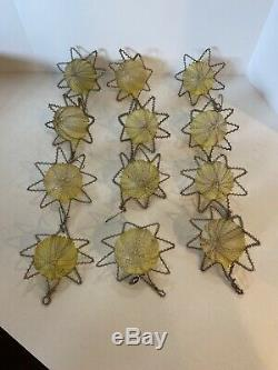 Lot 12 Vtg/Antique Silver Wire Tinsel Covered Glass Star Christmas Ornaments
