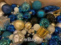 Lot 240 Christmas Ornament Ball Blue Silver Black Gold Disco Shatterproof