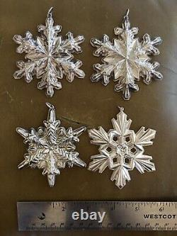 Lot 4X Sterling Silver Snowflake Ornaments Gorham 1972, 1973 (2), & 1990 NO RES