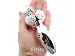 Lot (6) Czech blown glass hand painted silver cat Christmas tree ornaments decor