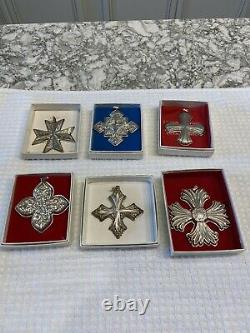 Lot 6 Sterling Silver Holiday Ornaments Reed Barton 77, 79, 80, 84, 91, 96