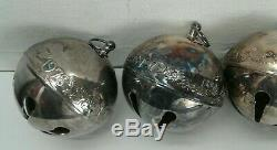 Lot 7 Wallace Annual Silver Plated Christmas Sleigh Bells Ball Ornament + Bell