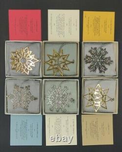 Lot Of 6 MMA Sterling Silver Snowflake Ornaments 1977-1979 Metropolitan Museum