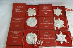 Lot of 12 Towle Sterling Silver Christmas Ornaments Wallace Lunt
