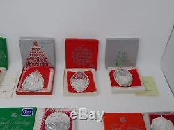 Lot of 12 Towle Sterling Silver Christmas Ornaments year 1971 to 1982
