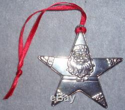 Lunt 1995 Solid Sterling Santa Star Christmas Ornament Pendant Medallion Gift