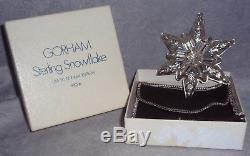MIB 1970 Gorham First Annual Sterling Snowflake Xmas Ornament Pendant Medallion