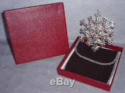 MIB 1981 Gorham Sterling Silver Christmas Snowflake Ornament Pendant Medallion