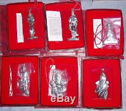 MIB COMPLETE Oneida Christmas Carol Series Sterling Silver Ornament Pendant Set