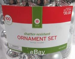 MIB Decor 99 Count Assorted Holiday Christmas Ornament Silver