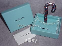 MIB Tiffany Sterling Spain Enamel Stripe Candy Cane Christmas Ornament Pendant