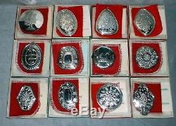 MIB Towle Sterling Silver 12 Days Christmas Complete Ornament Set 19711982