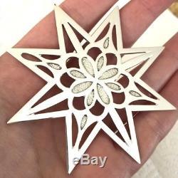 MINT Tiffany & Co Sterling Silver Christmas Ornament (1999) Snowflake Star Bag