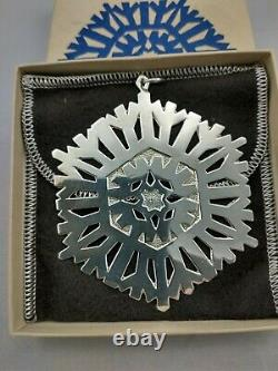 MMA 1972 Sterling Silver Snowflake Christmas Ornament, Excellent withbag and bag