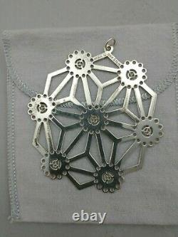 MMA 1986 Sterling Silver Snowflake Christmas Ornament, Excellent withbag