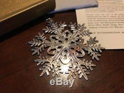 MMA 2005 Snowflake Sterling Silver Christmas Ornament Metropolitan Museum Art