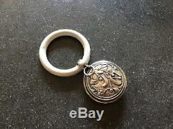 MURAT French Sterling Silver Mistletoe Chatelaine Rattle Pendant XMAS Ornament