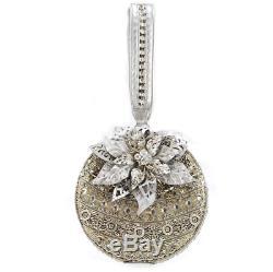 Mary Frances Snow Globe Xmas Silver Holiday Ornament Wristlet Bag Bead Purse New