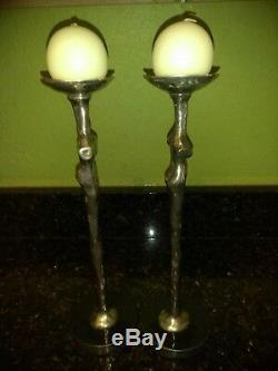 Michael Aram Silver Plated Adam & Eve Candle Holders Signed RARE
