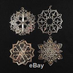 Mma Sterling Silver Snowflake Christmas Ornaments. Set Of 4