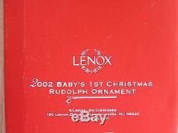 NEW Lenox 2002 Silver Christmas Tree Ornament Gift Crystal Egg Blue Stars NIB