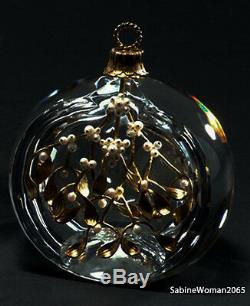 NEW in RED BOX STEUBEN glass MISTLETOE ORNAMENT 18K GOLD SILVER PEARLS XMAS art