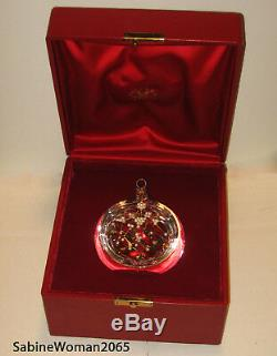 NEW in RED BOX STEUBEN glass MISTLETOE ORNAMENT 18K GOLD SILVER PEARLS XMAS tree