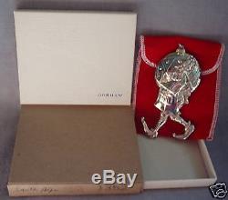 NIB 1977 Gorham Sterling Santa's Helper Elf Judy Lee Ornament Pendant Medallion