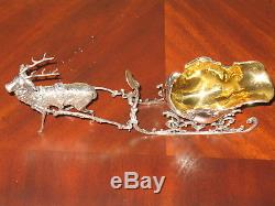 NWT LAZZERINI 925 STERLING SILVER CHRISTMAS SLEIGH REINDEER Ornament ITALY $675