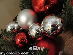 NWT Pottery Barn Outdoor ornament pine Christmas wreath red silver medium 22