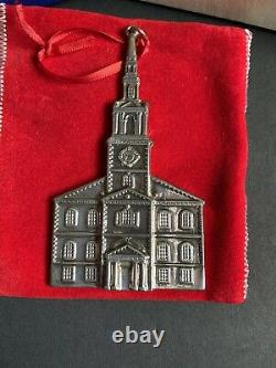 New England Sterling Silver 1992 Colonial Meetinghouse Church Ornament Withbox