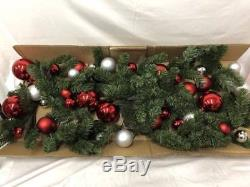 New Pottery Barn Ornament Pine Red & Silver Garland 10 Outdoor/Indoor Christmas