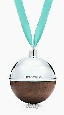 New Tiffany & Co Silver and Walnut Christmas Tree ball ornament in box